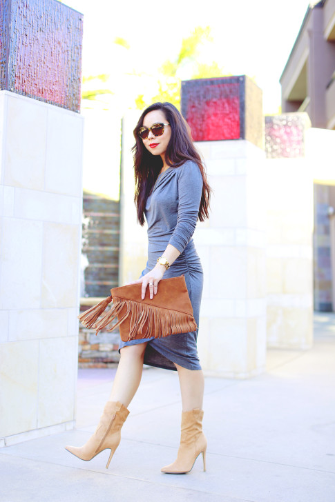 An Dyer wearing JustFab Grey Ruched Dress, Suede Fringe Clutch, Cowboy boots