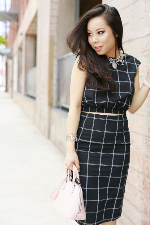 An Dyer wearing Line & Dot Bisious Crop Top Pencil Skirt, Cocoa Jewelry Blush Pink Stone Necklace