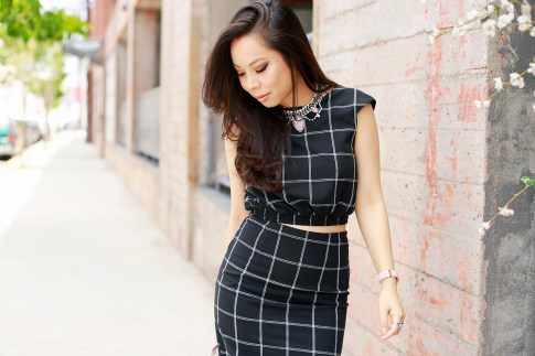 An Dyer wearing Line & Dot windowpane Crop Top Pencil Skirt, Cocoa Jewelry Blush Pink Stone Necklace