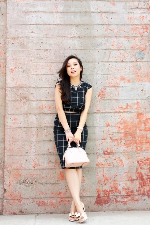 An Dyer wearing Louis Vuitton Alma BB Magnolia, Line & Dot Windowpane Crop Top Midi Skirt, ASOS Nude Bow Pumps