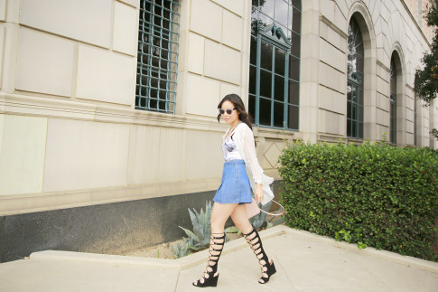 An Dyer wearing Shoedazzle Gladiator Wedge Sandals