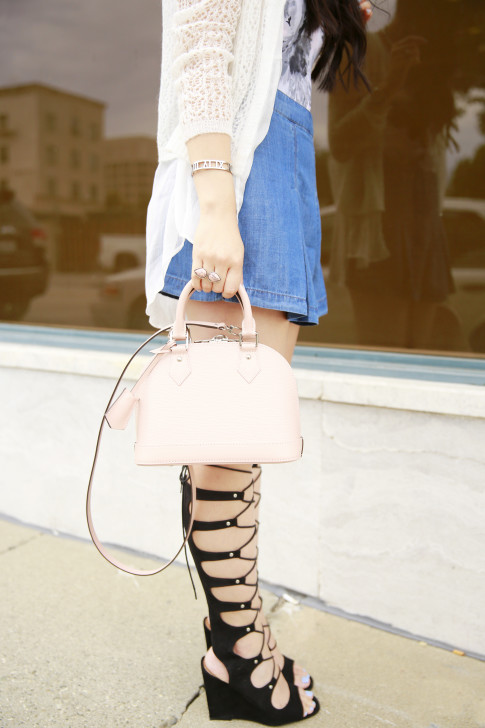 An Dyer wearing Shoedazzle Gladiator Wedge Sandals The Peach Box Roman Bracelet, Cocoa Jewelry Blush Stone Ring and Louis Vuitton Alma BB Magnolia Blush PInk