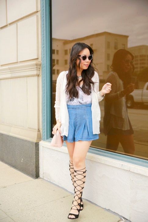 An Dyer wearing Vint York Clear Cateyes and Forever 21 Pleated Denim Shorts and Shoedazzle Gladiator Wedge Sandals