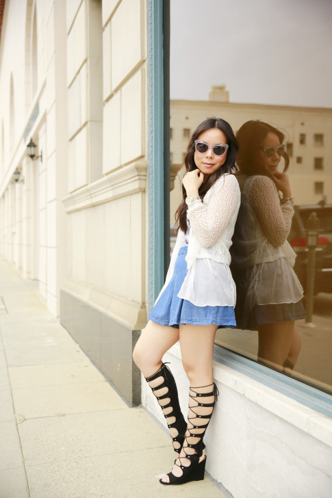 An Dyer wearing Vint York Clear Cateyes andForever 21 Pleated Denim Shorts and Shoedazzle Gladiator Wedge Sandals