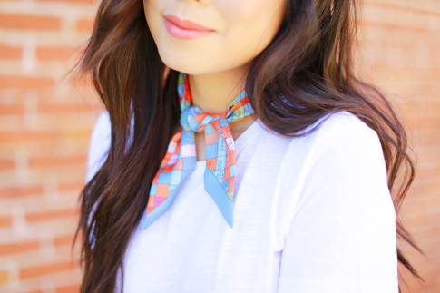 An Dyer wearing Hermes Twilly tied around neck