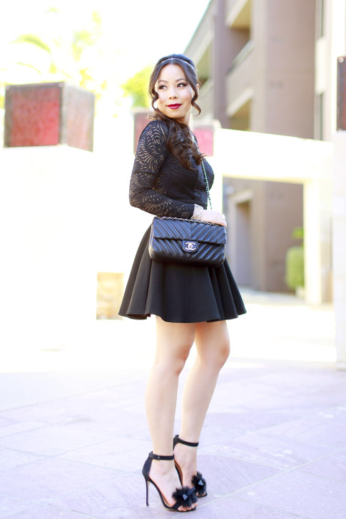 An Dyer wearing JustFab Fur Sandals and Chanel Like A Chevron QUilted Black Flap
