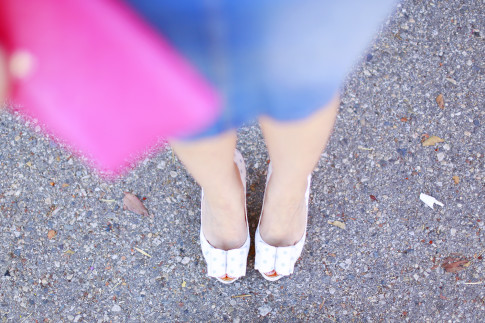 An Dyer wearing Palter Delisio Light Blue Dot Bow Pumps