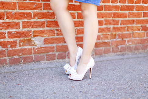 An Dyer wearing Palter Deliso Isla Light Blue Dot Bow Pumps