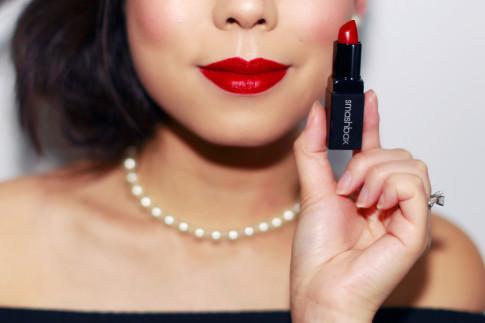 An Dyer wearing Ulta Bold Red Matte Lips Smashbox Infrared Matt Lipstick