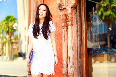 An Dyer wearing White Crochet Shift Dress