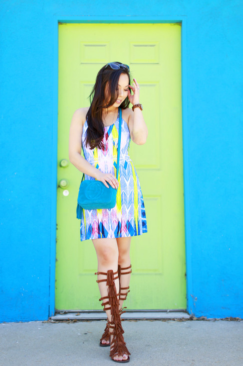 Blogger wearing Gucci Soho Disco, Tart Collections Harper Dress with Steve Madden VILLANO Fringe Gladiator Sandals