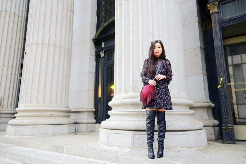 An Dyer NYFW SS16 Street Style Over The Knee Boots High Neck Floral Dress