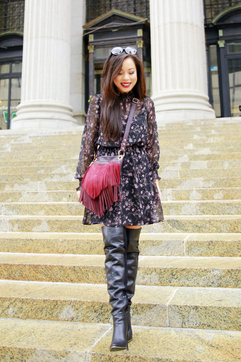 An Dyer NYFW SS16 Street Style Over The Knee Boots High Neck Floral Dress Hammitt Red Fringe Suede Bag