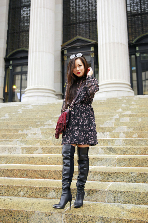 An Dyer NYFW SS16 Street Style Thigh High OTK Boots High Neck Floral Dress