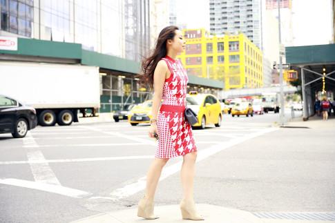 An Dyer NYFW SS16 StreetStyle Chanel Brooch Chevron Flap, Vassallo Houndstooth Pencil Skirt Set