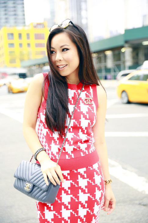 An Dyer NYFW Street Style Chanel Brooch Chevron Flap, Vassallo Houndstooth