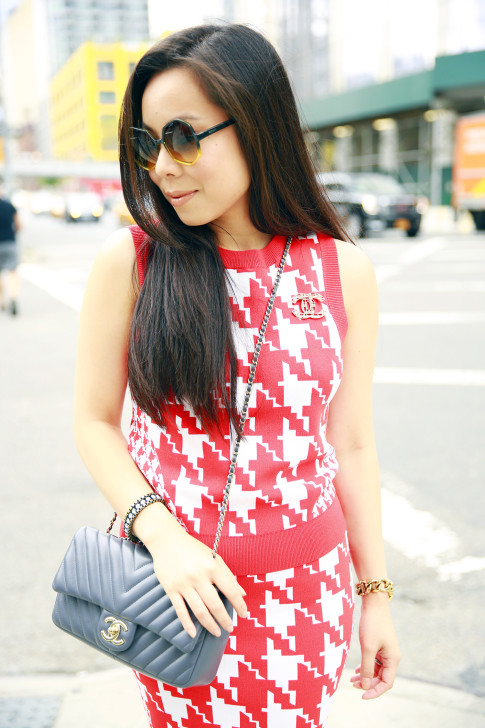 An Dyer NYFW Street Style Chanel Brooch Chevron Flap, Vassallo Houndstooth Komono Octogon Sunglasses