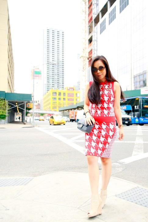 An Dyer New York Fashion Week SS16 StreetStyle Chanel Brooch Chevron Flap, Vassallo Houndstooth, ShoeDazzle