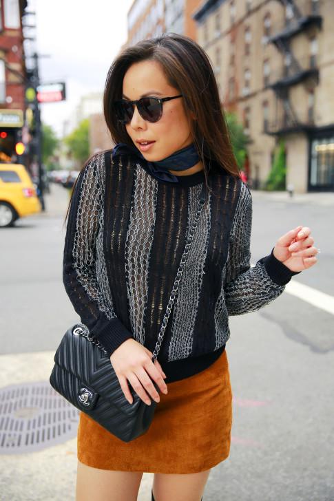An Dyer NYFW Street Style SS16 Chelsea Chanel Chevron A Moss Suede Mini Skirt