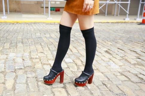 An Dyer NYFW Street Style SS16 Clogs Over The Knee Socks