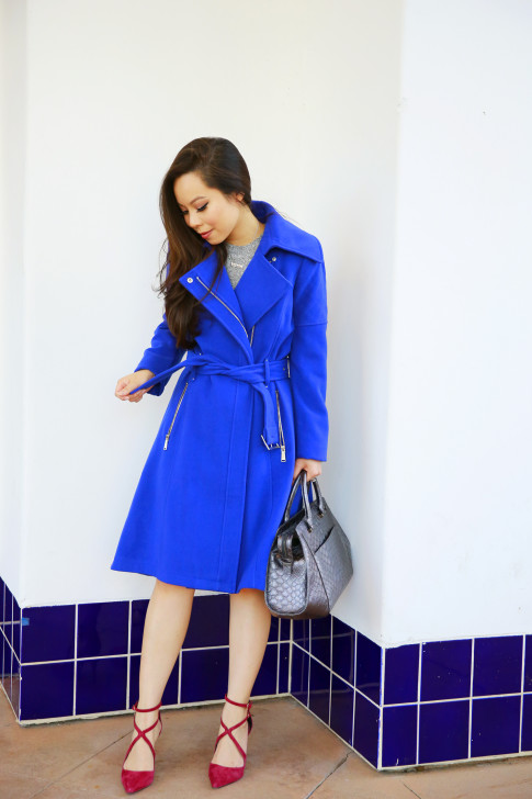 An Dyer for BCBGeneration Cobalt Blue Coat Fall Winter Cranberry accents