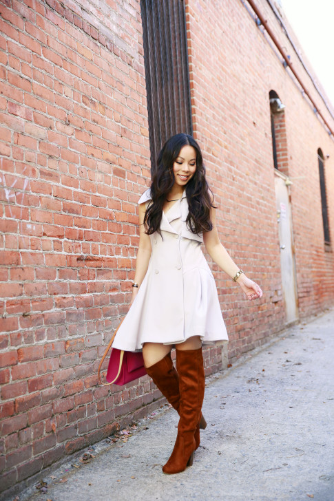 An Dyer wearing Chicwish Belted Sleeveless Trench Dress
