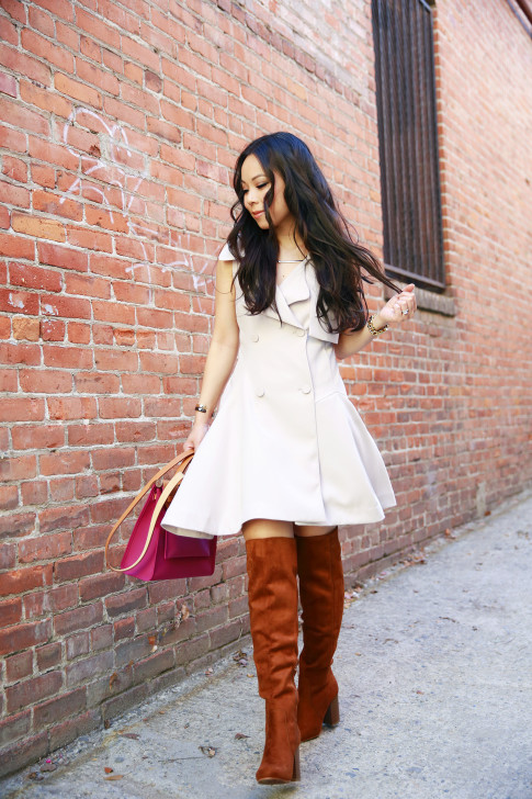 An Dyer wearing Chicwish Sleeveless Trench Dress