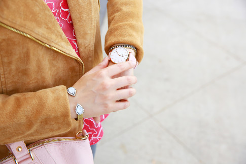 An Dyer wearing Lauren Hope Jewelry & CLUSE Pink Watch