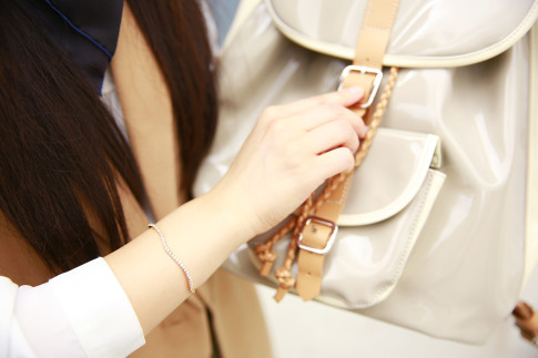 An Dyer wearing Mejuri Curve bracelet with Harper Ave