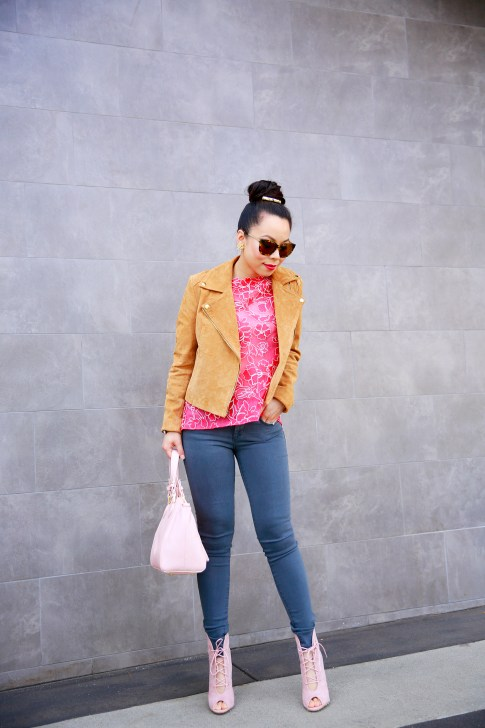 An Dyer wearing Vint & York Sunglasses, Forever 21 Camel Suede Moto Jacket with Tadashi BCA Pink Lace Top and Joe's Jeans