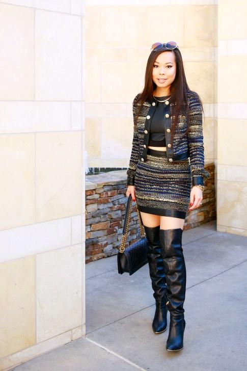An Dyer wearin Guess Mizell Tweed Skirt Suit Set