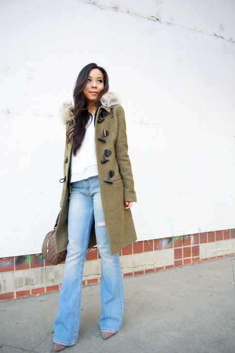 An Dyer wearing Bishop Young Tank, Dawn Levy Waverly Green Coat, Louis Vuitton Ribera Mm Damier Tote, Aeropostale Light Wash Flare Jeans