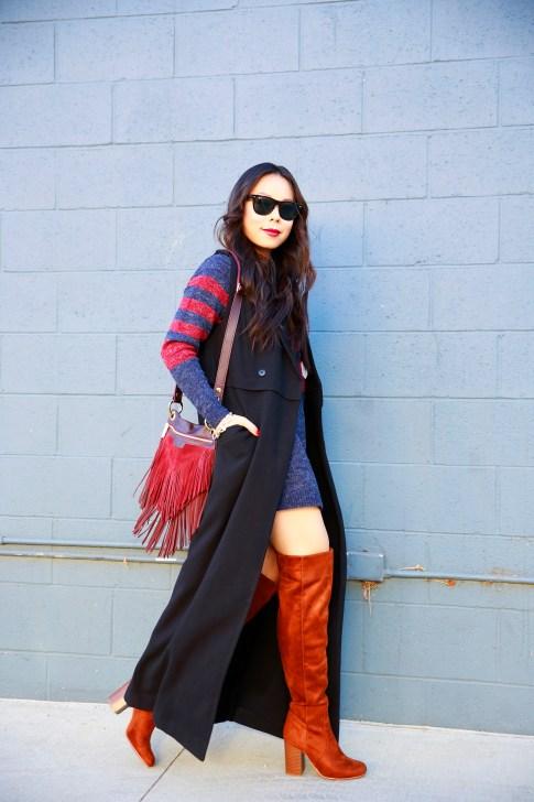 An Dyer wearing JustFab Sweater Dress Cognac OTK Boots
