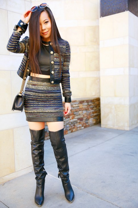 An Dyer wearing Marciano Tweed Skirt Suit