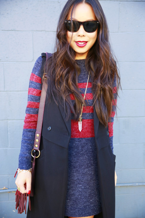 An Dyer wearing RayBan Wayfarer Oversized Red Blue Stripe Rubgy Sweater Dress