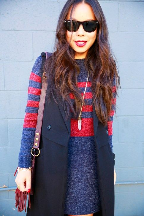 An Dyer wearing RayBan Wayfarer Oversized Red Blue Stripe Rubgy Sweater Dress