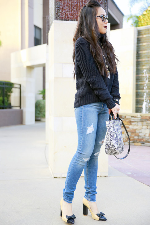 Joe's Jeans Chunky Turtleneck Sweater with Etienne Aigner Tote