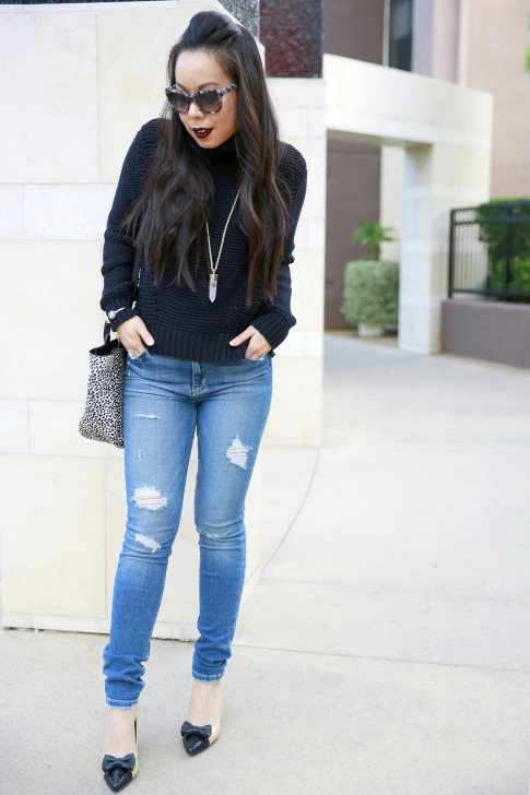 Joe's Jeans Chunky Turtleneck Sweater with bow pumps