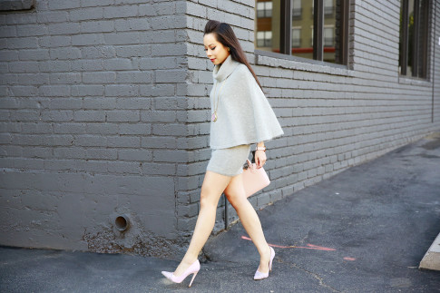 An Dyer wearing ChicWish Mohair Poncho Skirt Set