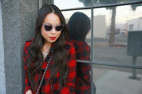 An Dyer wearing Clear Cateye Sunglasses