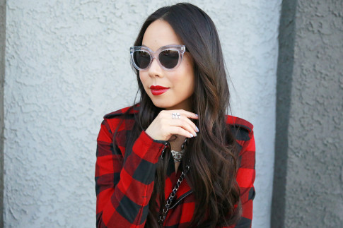 An Dyer wearing Clear Cateye Sunglasses, Edge of Ember Ring