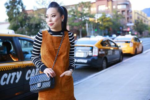 An Dyer wearing Forever 21 Suede Dress, Striped Sweater, Chanel 2015 Like A Chevron Flap Bag & Clip On Earrings