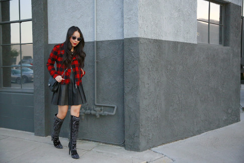 An Dyer wearing Guess Marciano Leather Pleated Skirt, Hudson Plaid Jacket