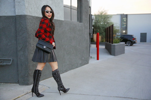 An Dyer wearing Guess Marciano Pleated Skirt, Hudson Plaid Jacket