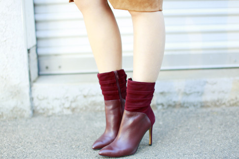 An Dyer wearing Guess Vvidlet Leather Suede Dark Red Ankle Boots