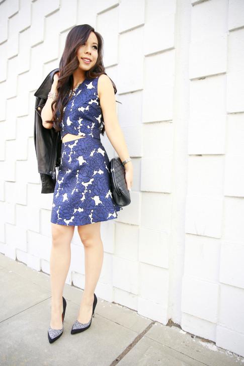 An Dyer wearing Lucy Paris Blue Floral Skirt Crop Set