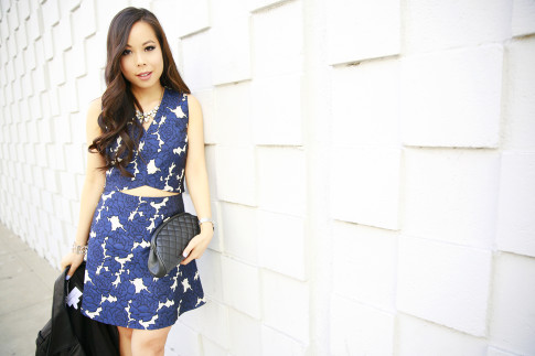 An Dyer wearing Lucy Paris Floral Crop Top and Skirt