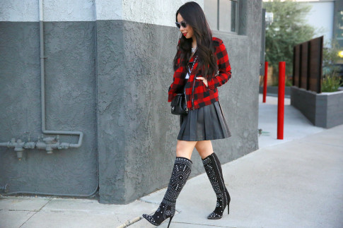 An Dyer wearing Shoedazzle Suede Studded Boots, Guess Marciano Leather Pleated Skirt, Hudson Plaid Jacket