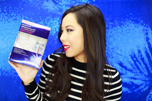 #1) CVS Platinum Whitening Kit is obviously a given to kick start your brighter smile! It includes a soft mouth tray that is comfortable to wear and doesn't need any heatingormolding. The tray is pre-filled with the minty whitening mixture to keep it easy, so that you won't have to deal with a messyapplication! The formula also includes potassium nitrate to reduceany discomfort/tooth sensitivity that sometimes happens with teeth whitening. You only have to use it for 20 minutes to already see results!(Oh and the kit comes with two extratreatments pre-filled in an easy-to-use syringe for the next time you want to use it!)