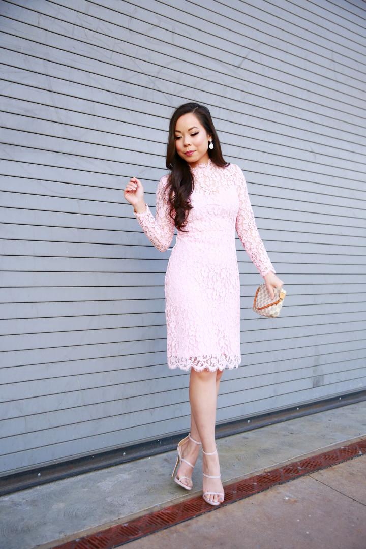 An Dyer wearing Pink Long Sleeve Lace Midi Dress
